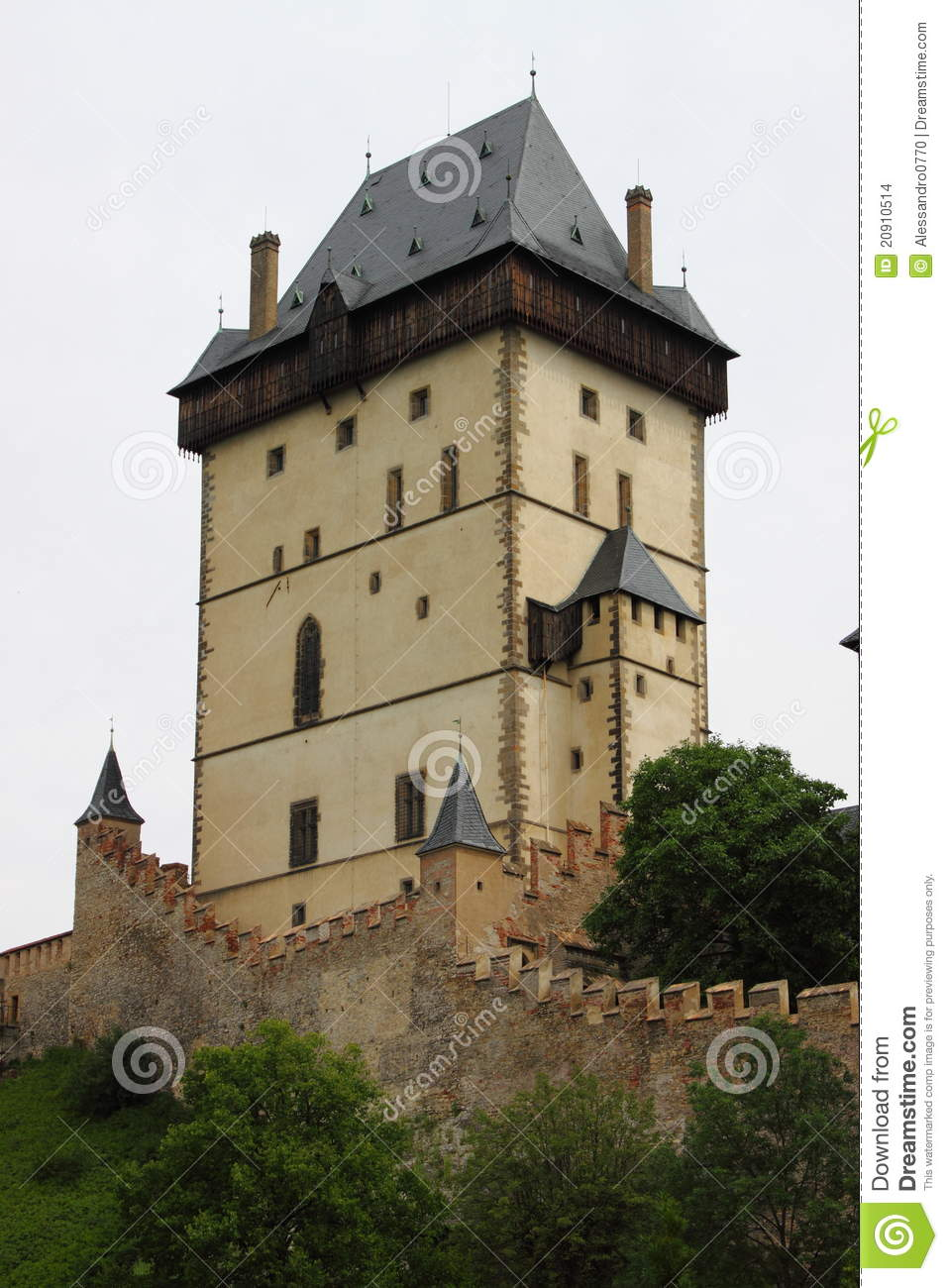 Main Tower Of Karlstein Castle Stock Images.