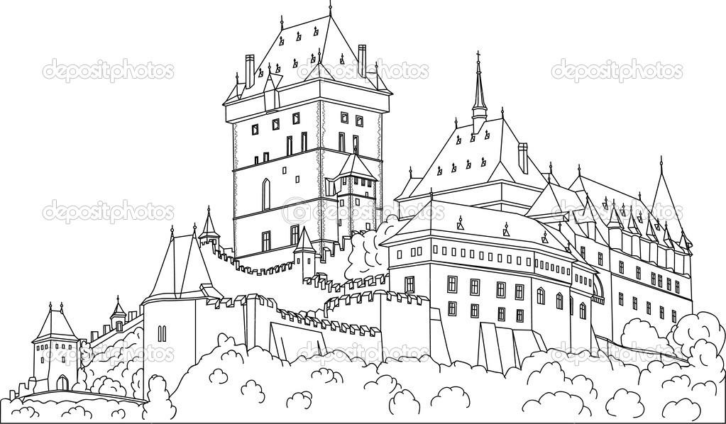 Gothic castle Karlstein — Stock Vector © pavelmidi #2743047.