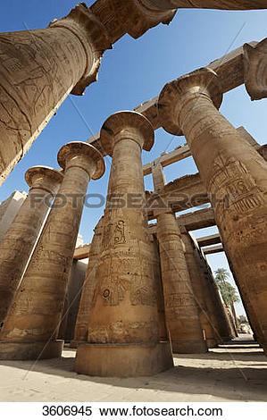Stock Image of Columns, Temple of Karnak, Karnak, Egypt, Africa.