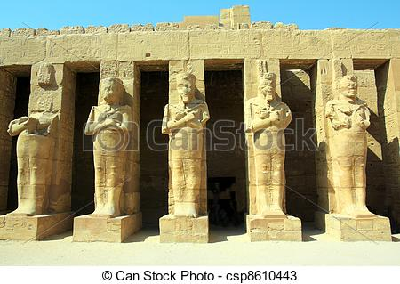 Stock Photos of ancient statues in Luxor karnak temple.