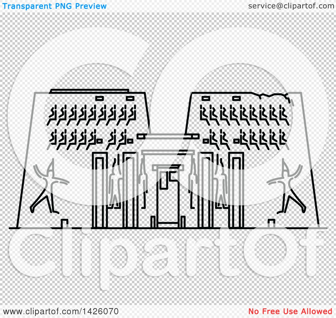 Clipart of a Black and White Line Drawing Styled Egyptian Landmark.