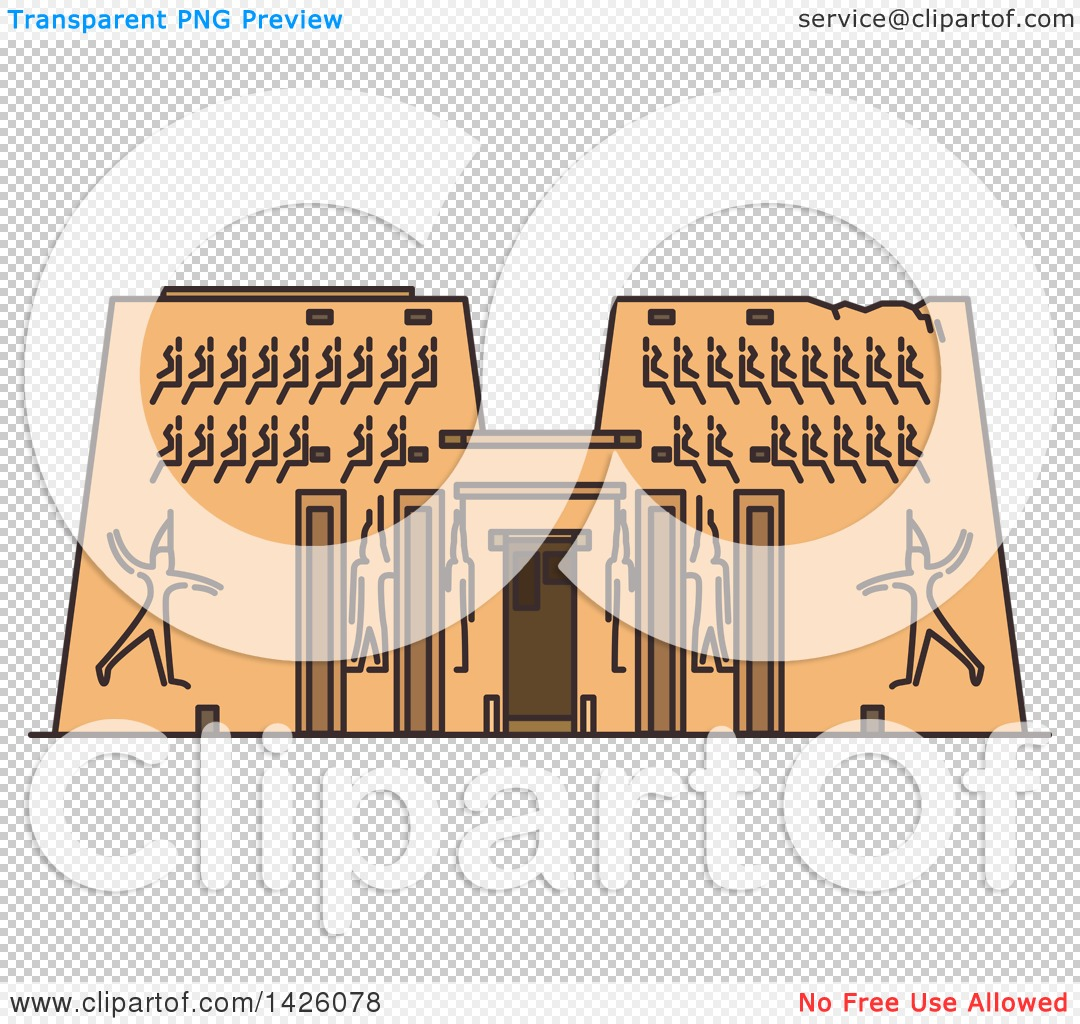 Clipart of a Line Drawing Styled Egyptian Landmark, Karnak Temple.