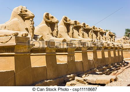 Pictures of Ancient ruins of Karnak temple in Egypt in the summer.
