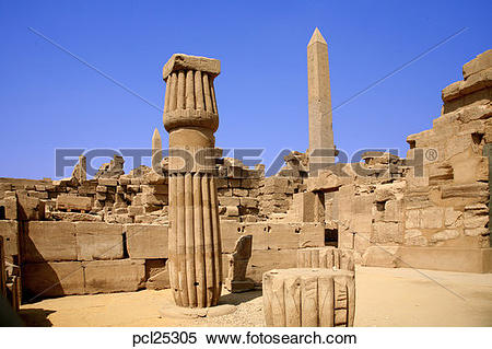 Stock Image of Obelisk & Pillar, Karnak Temple pcl25305.