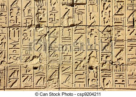 Stock Photography of ancient egypt hieroglyphics in karnak temple.