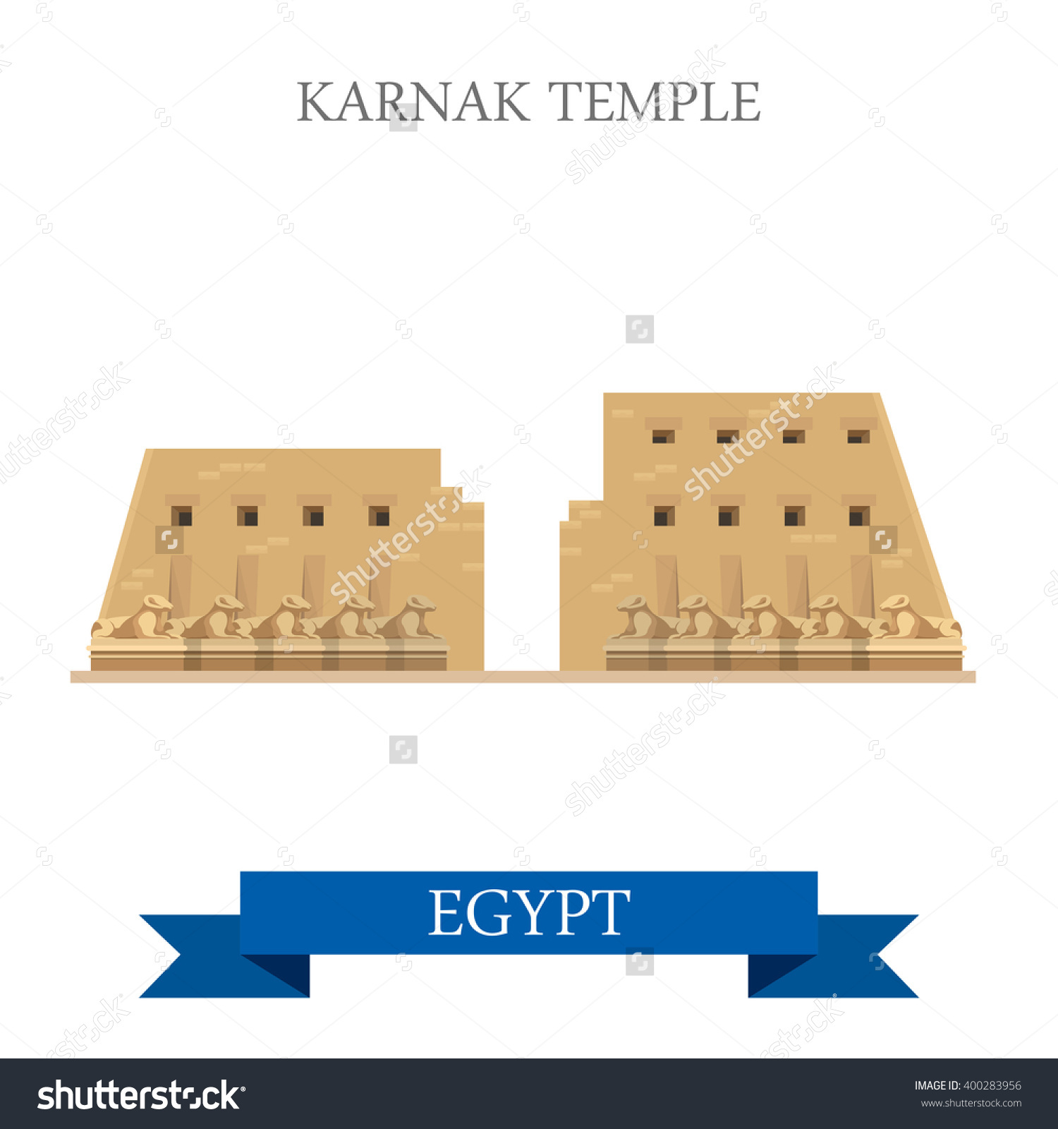 Karnak Temple Luxor Egypt Flat Cartoon Stock Vector 400283956.