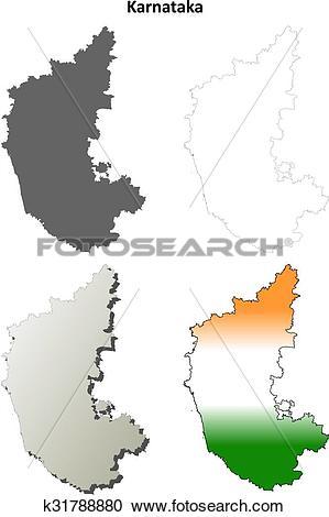 Clipart of Karnataka blank detailed outline map set k31788880.