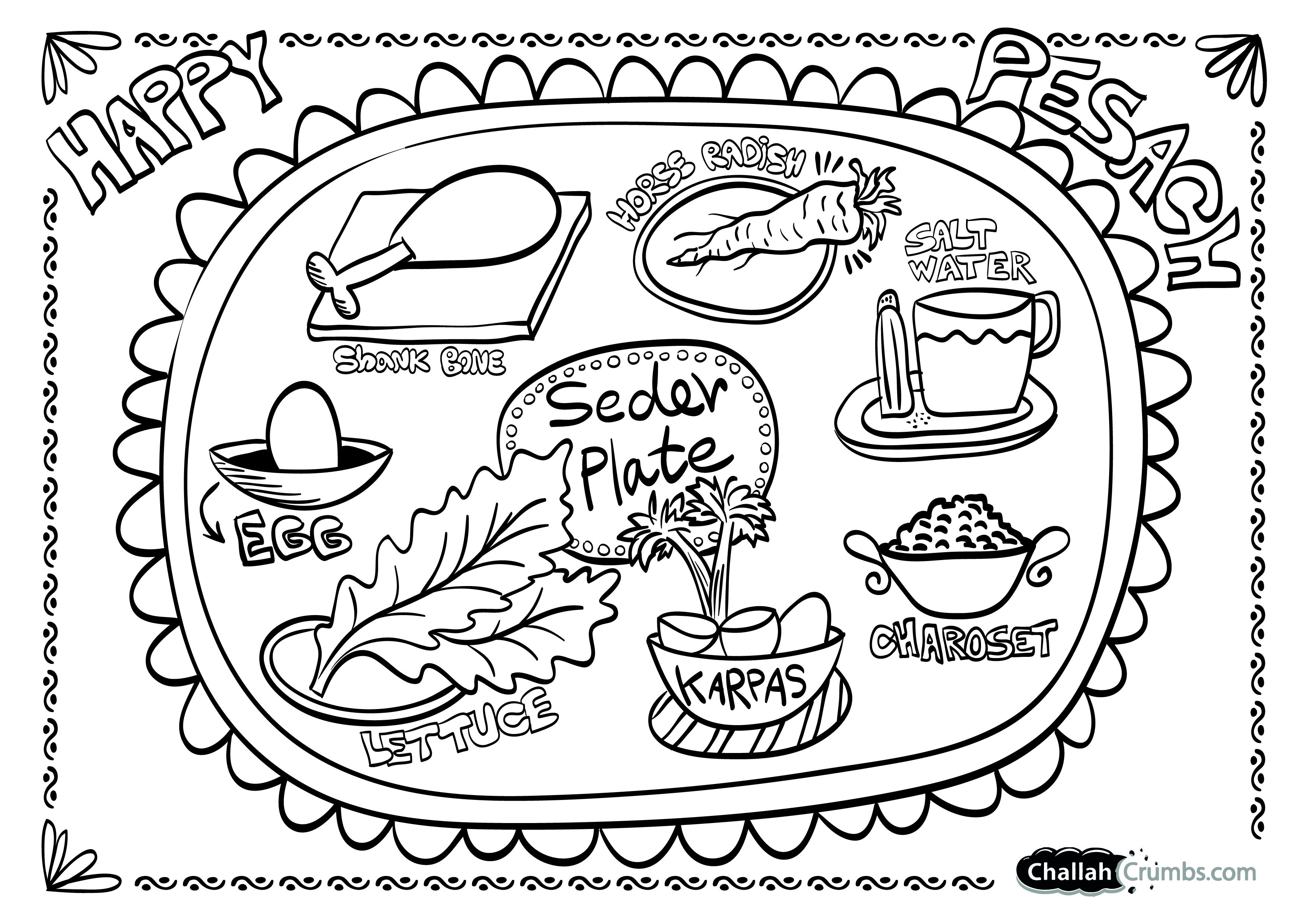 Coloring Page: Seder Plate.