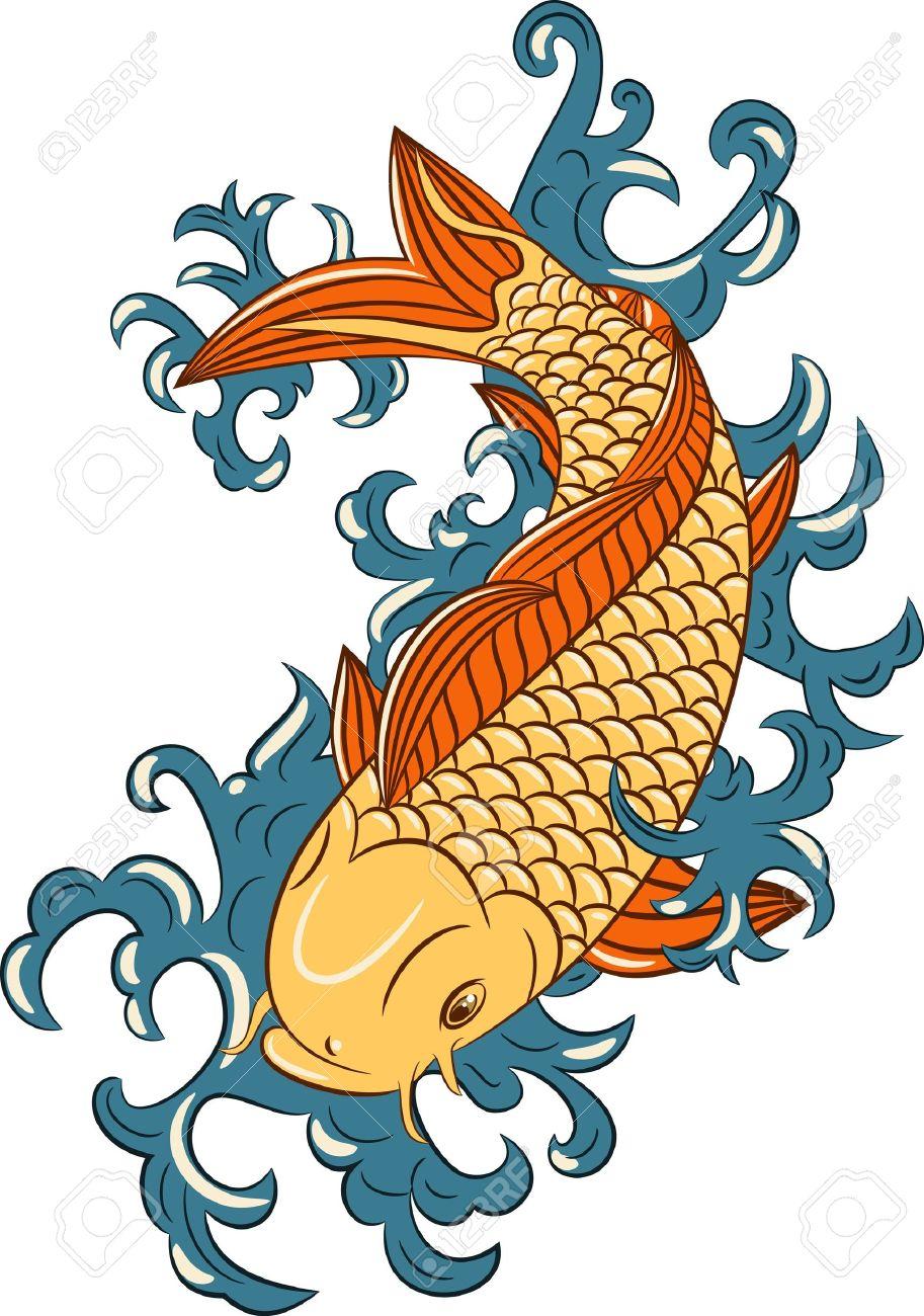 Japanischen Stil Koi (Karpfen Fisch), Handgezeichneten Lizenzfrei.