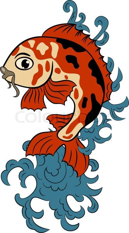 Vector handgezeichneten koi (Karpfen) Fisch im Wasser splash.