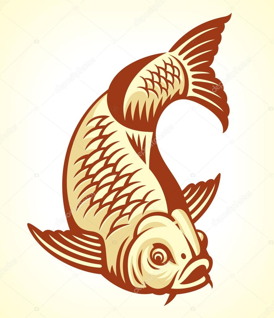 Karpfen Fisch cartoon — Stockvektor © digiselector #10497828.