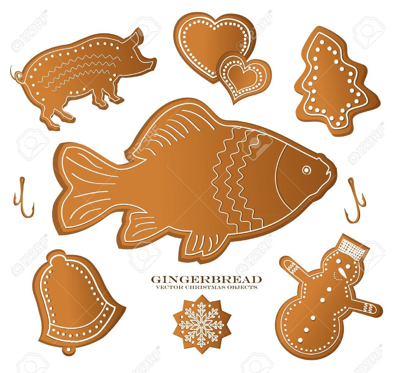 Christmast Lebkuchen Figur Karpfen Fisch Schwein Lizenzfrei.