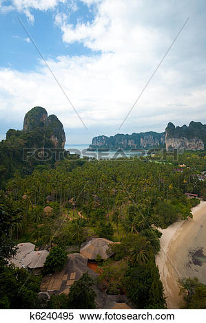 Stock Image of Aerial View Railay Beach Karst Mountains Vertical.