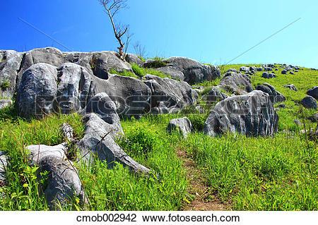 Stock Photo of Karst Topography, Fukuoka Prefecture cmob002942.