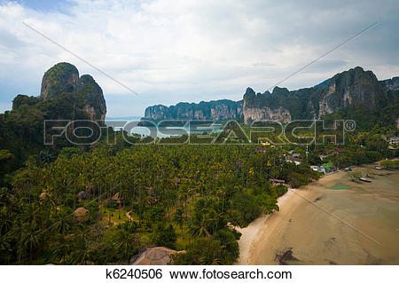 Stock Images of Aerial View Railay Beach Karst Mountains.