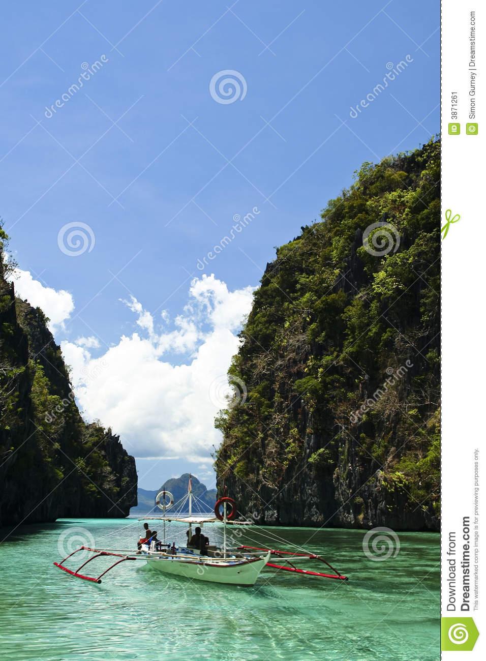 Karst Lagoon Banka El Nido Palawan Philippines Stock Image.