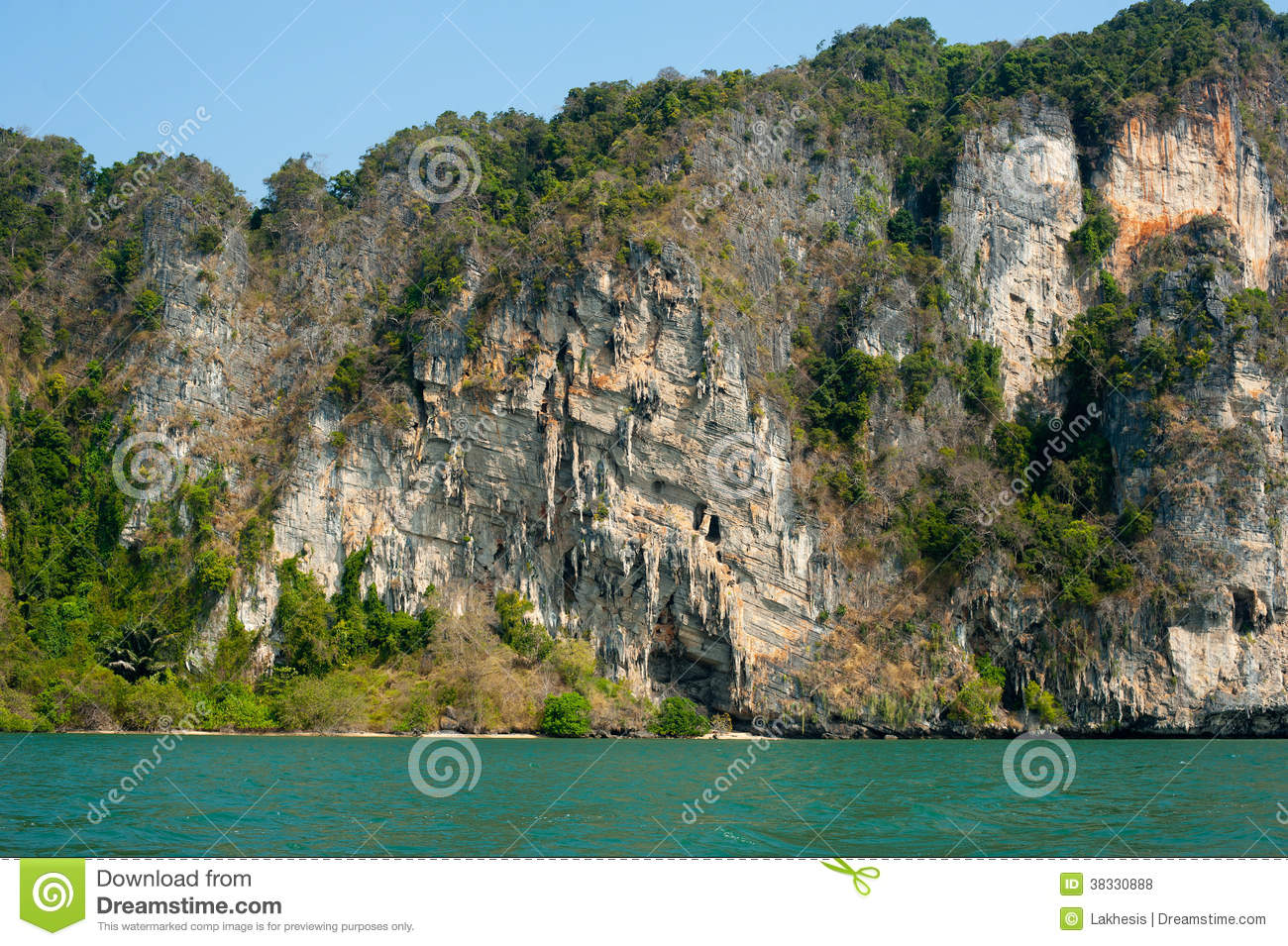 Karst Limestone Structure Of Tropical Island With Forest. Pranan.