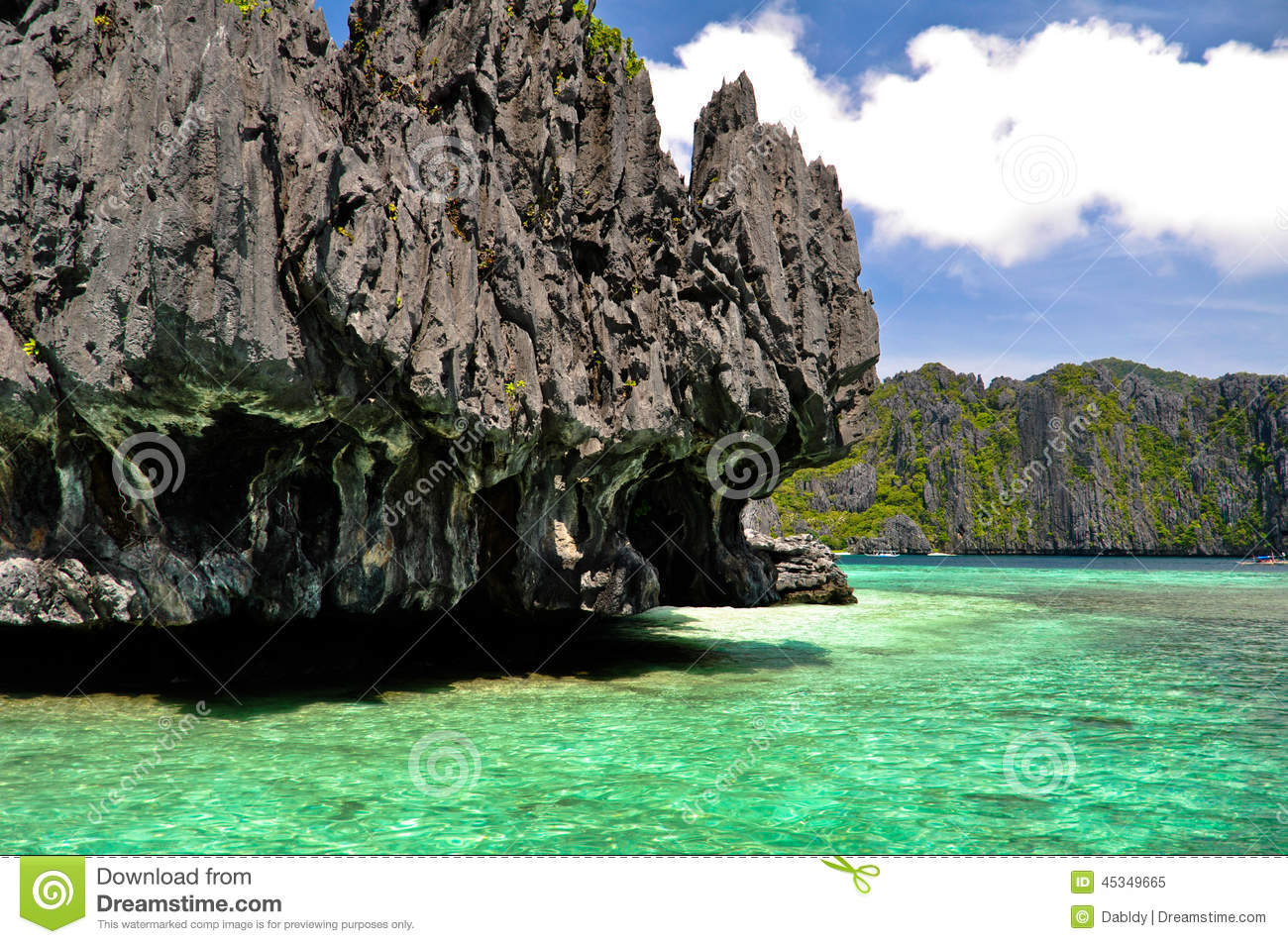 Karst Rock Formations In Blue Lagoon Stock Photo.