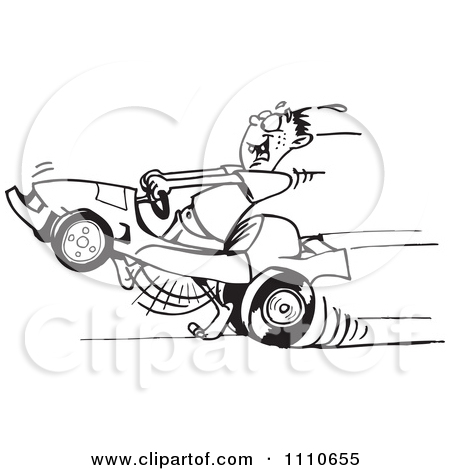 Clipart of a Reto Man Racing a Go Kart in a Green Oval.