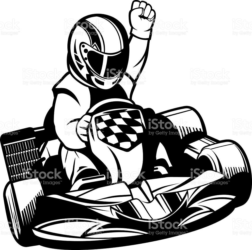 Gokart Racing Bw stock vector art 626915268.