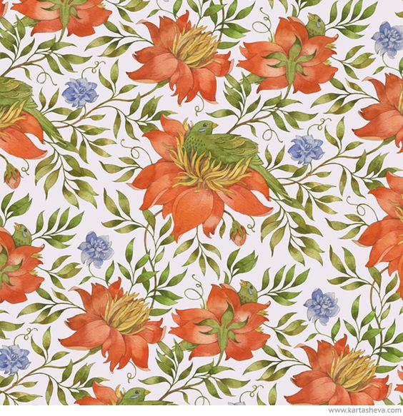 The Lost World watercolor patterns by Tetiana Kartasheva, via.