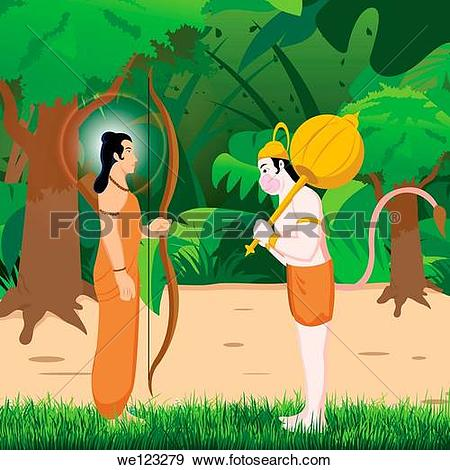 Stock Photograph of Lord Hanuman bowing to Lord Rama we123279.