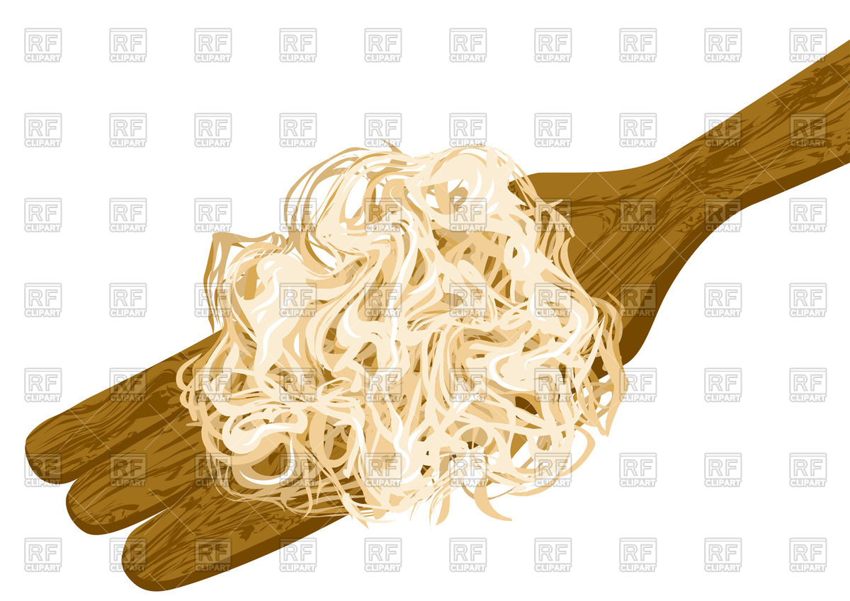 Sauerkraut on wooden fork Vector Image #98876.