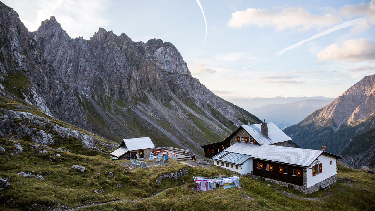 Mountain refuge huts in the mountains.