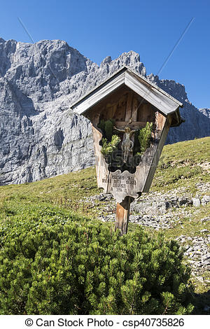 Stock Photo of cross in the karwendel alps csp40735826.