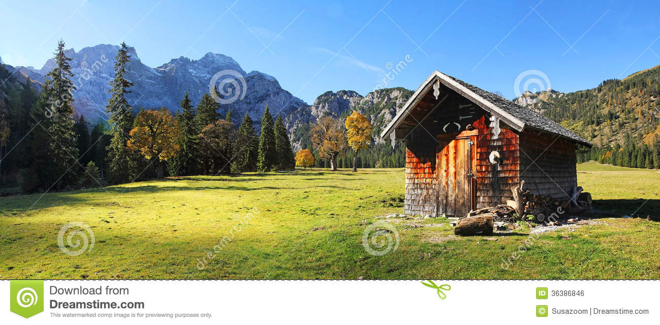Alpine Cabin At Rhontal Valley, Karwendel, Austria Royalty Free.