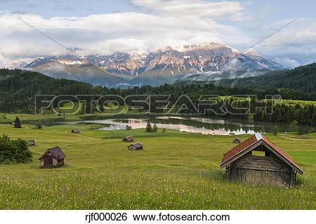 Stock Images of Germany, Bavaria, Werdenfelser Land, lake.