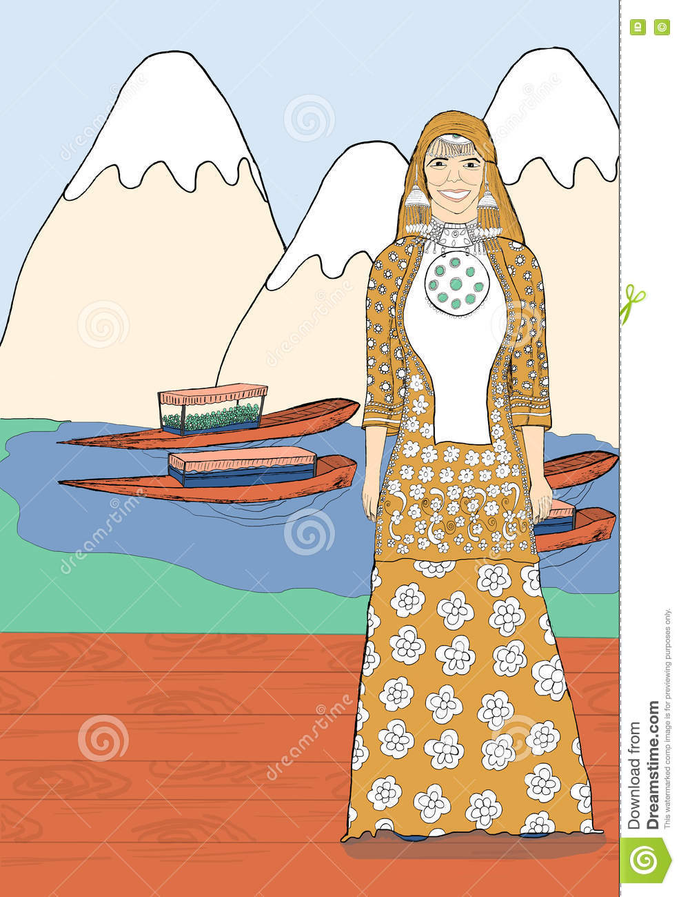 Women Wearing Traditional Kashmiri Dress Stock Illustration.