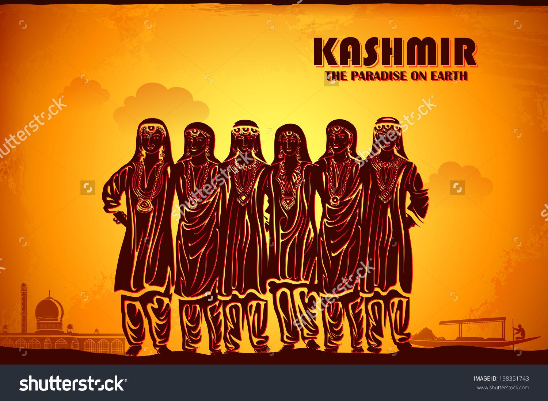 Illustration Depicting Culture Kashmir India Stock Vector.