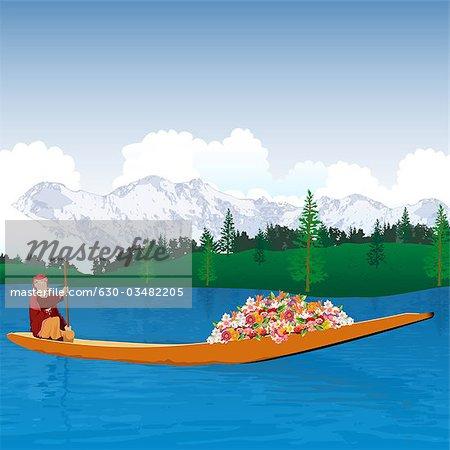 Kashmiri woman in a boat, Jammu and Kashmir, India.