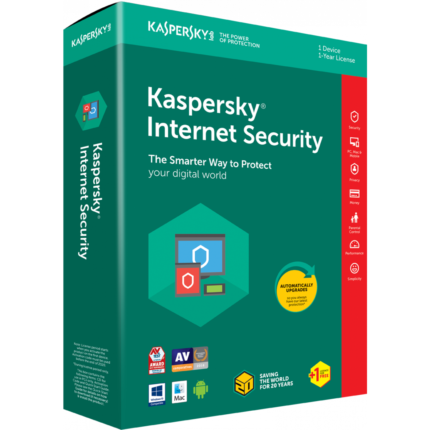 Kaspersky Internet Security 2018 1+1 Device 1 Year.