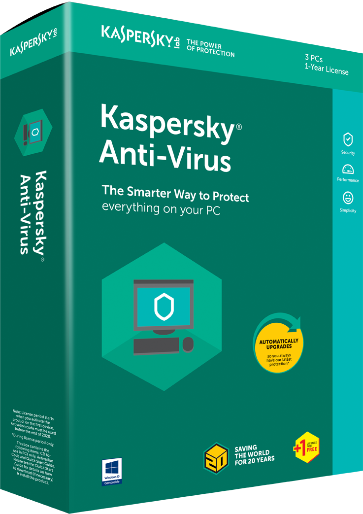 Kaspersky Anti Virus 2018 3+1 User 1 Year.