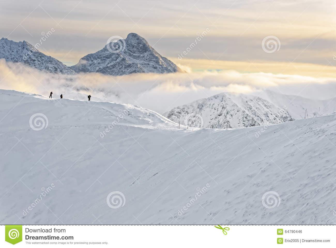 People At The Top Of Kasprowy Wierch In Zakopane In Tatras In Wi.