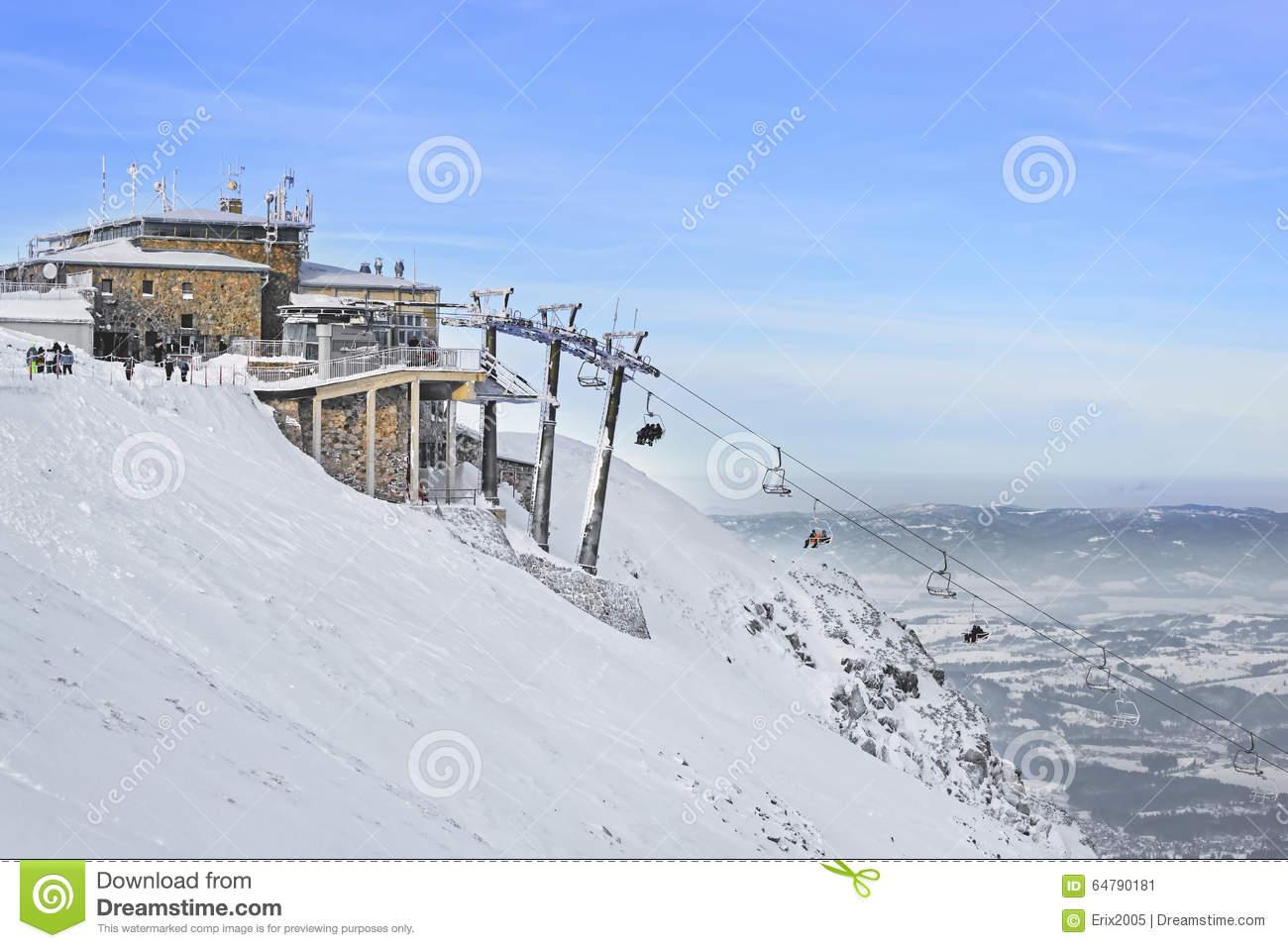 Chair Lifts In Kasprowy Wierch Mountain In Zakopane In Winter.