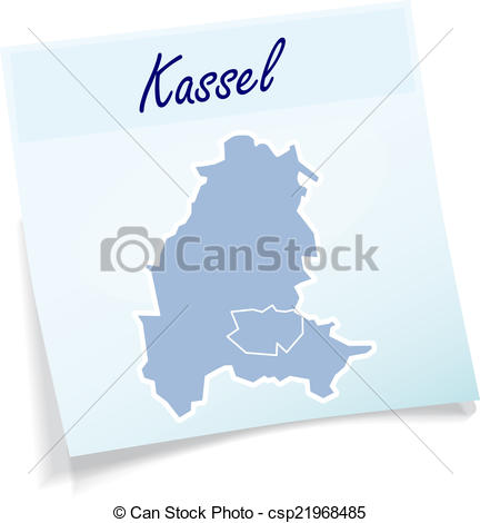 Vector of Map of kassel as sticky note in blue csp21968485.