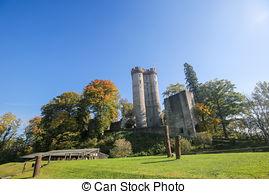 Stock Photography of Kasselburg Castle in Vulkaneifel, Rhineland.