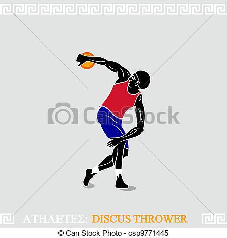 Clipart Vector af atlet, Kaster, Diskus.