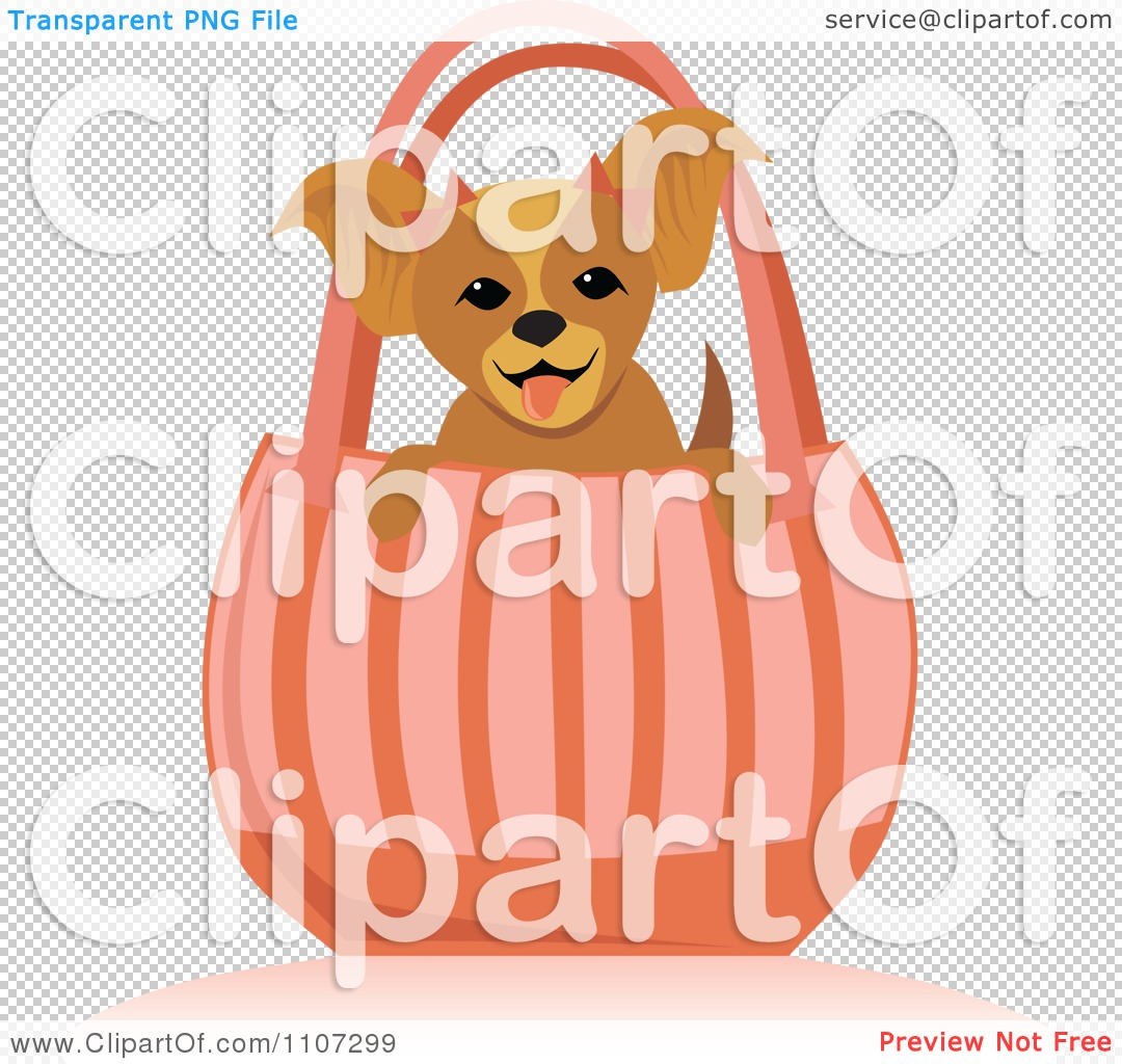 Clipart Happy Toy Dog In A Pink Purse.