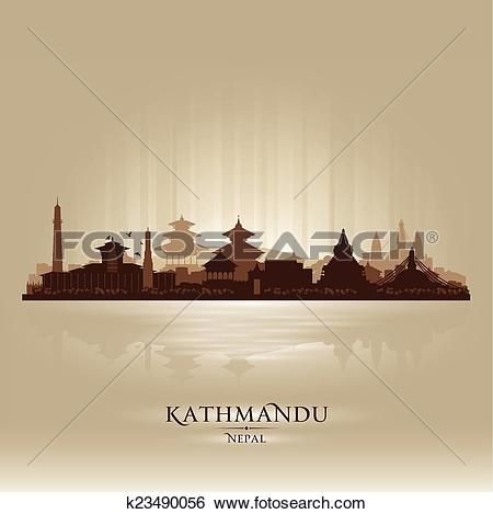 Clip Art of Kathmandu Nepal city skyline vector silhouette.