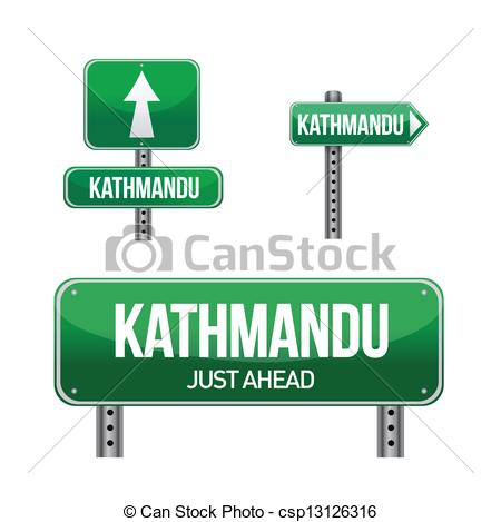 Vector Clip Art of kathmandu city road sign illustration design.