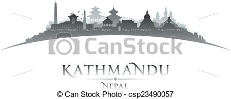 Clipart Vector of Kathmandu Nepal city skyline silhouette white.