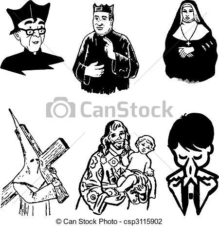 Vektor Illustration von katholik, silhouetten, vektor, abbildung.