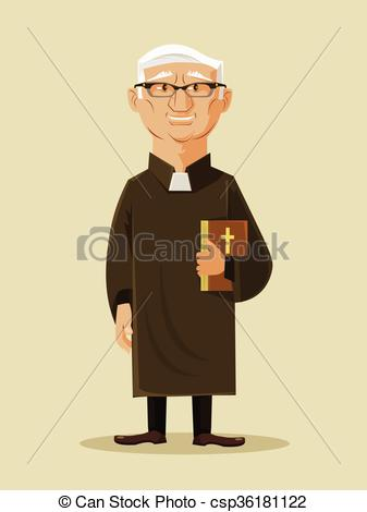 Vektor Illustration von katholik, pfarrer, vektor, wohnung.
