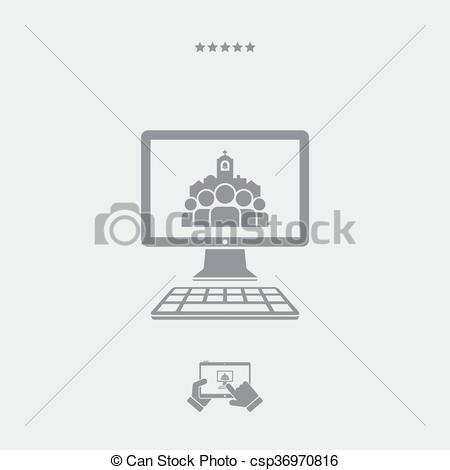 Vektor Clip Art von Website, katholik, bage, Ikone.