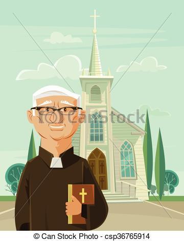 Vektor Clip Art von katholik, pfarrer, Kirche.