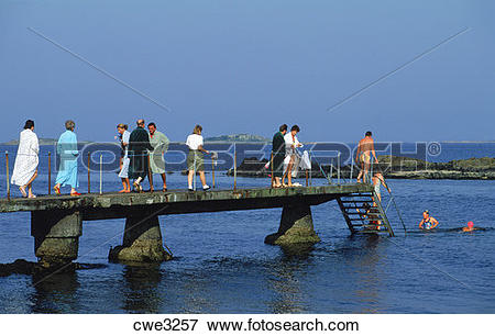 Picture of Visitors and Swedes taking morning dip in the Kattegat.
